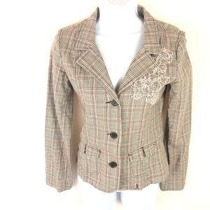 Roxy Jacket Tan Pink Plaid Embroidery Blazer XL